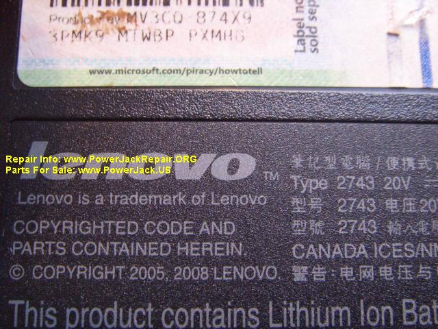 Lenovo Type 2743 jack replacement SL400